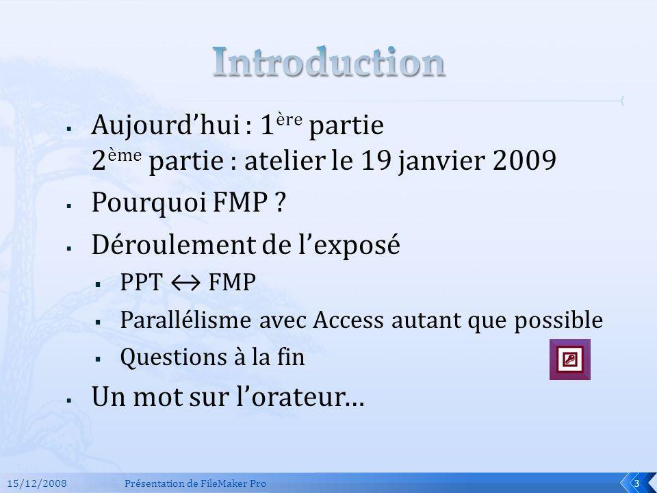 Introduction Aujourd'hui : 1ère partie 2ème partie : atelier le 19 janvier 2009. Pourquoi FMP Déroulement de l'exposé.