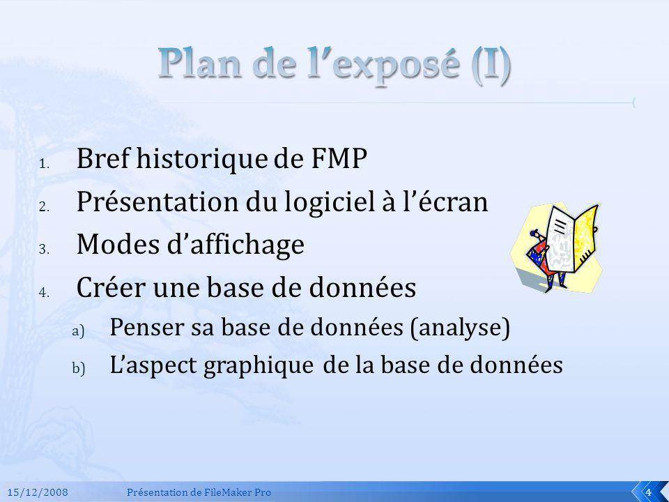 Plan de l'exposé (I) Bref historique de FMP