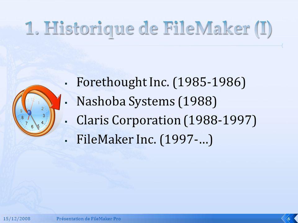 1. Historique de FileMaker (I)
