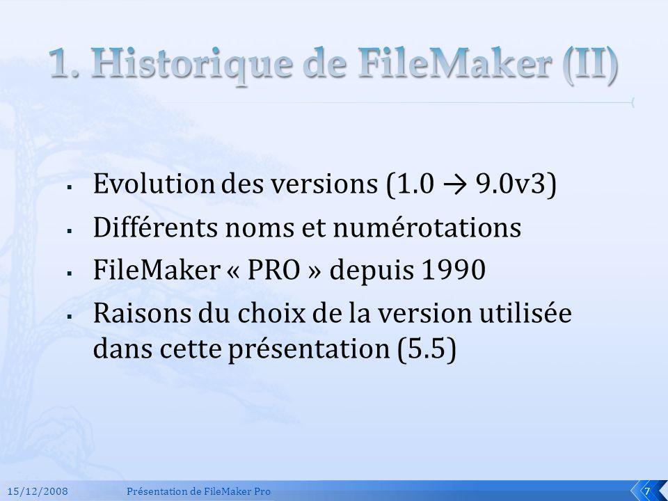 1. Historique de FileMaker (II)