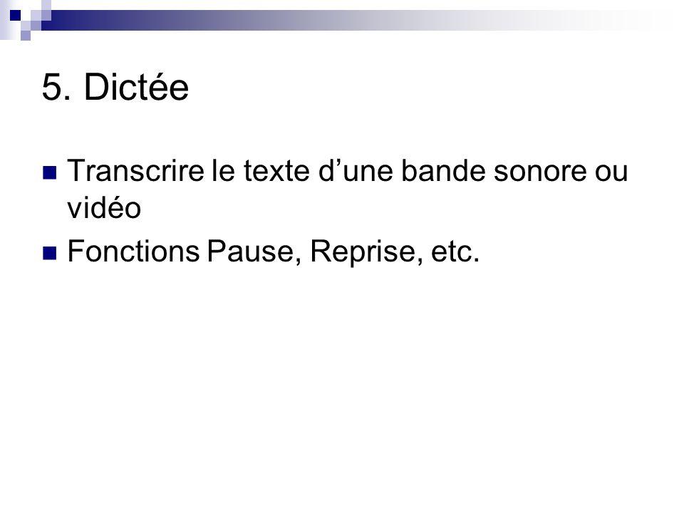 5. Dictée Transcrire le texte d'une bande sonore ou vidéo