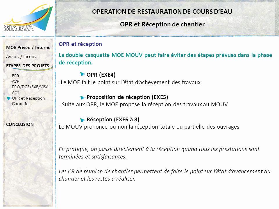 OPERATION DE RESTAURATION DE COURS D'EAU OPR et Réception de chantier