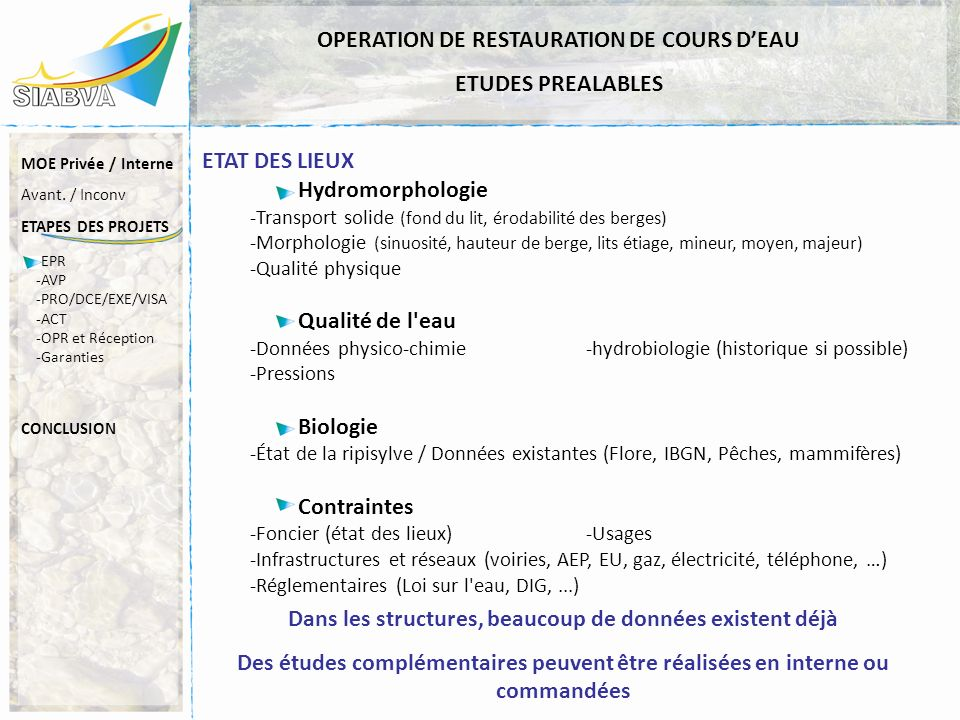 OPERATION DE RESTAURATION DE COURS D'EAU ETUDES PREALABLES