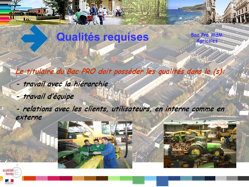 Qualités requises Bac Pro MdM. Agricoles. Le titulaire du Bac PRO doit posséder les qualités dans le (s):