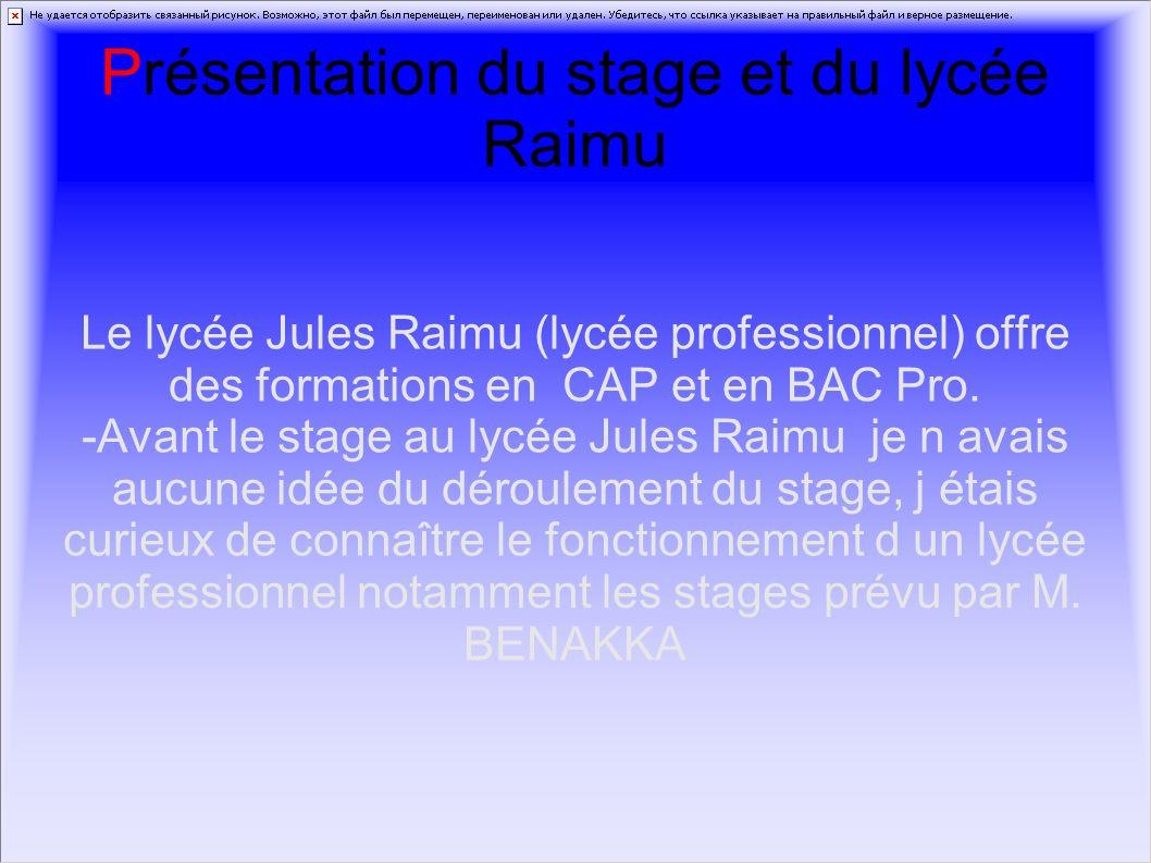 Présentation du stage et du lycée Raimu
