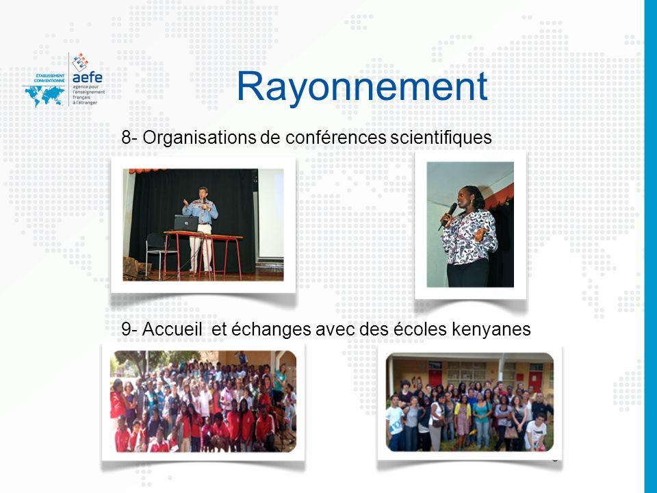 Rayonnement 8- Organisations de conférences scientifiques