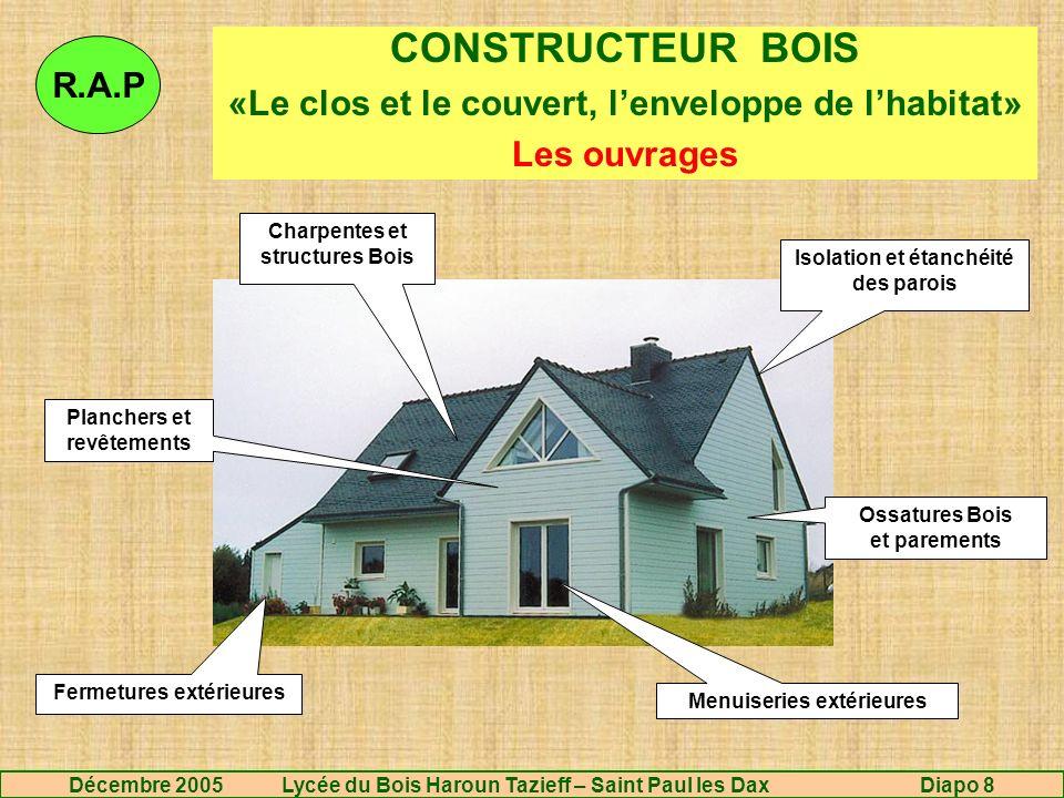 CONSTRUCTEUR BOIS «Le clos et le couvert, l'enveloppe de l'habitat» Les ouvrages. R.A.P. Charpentes et structures Bois.