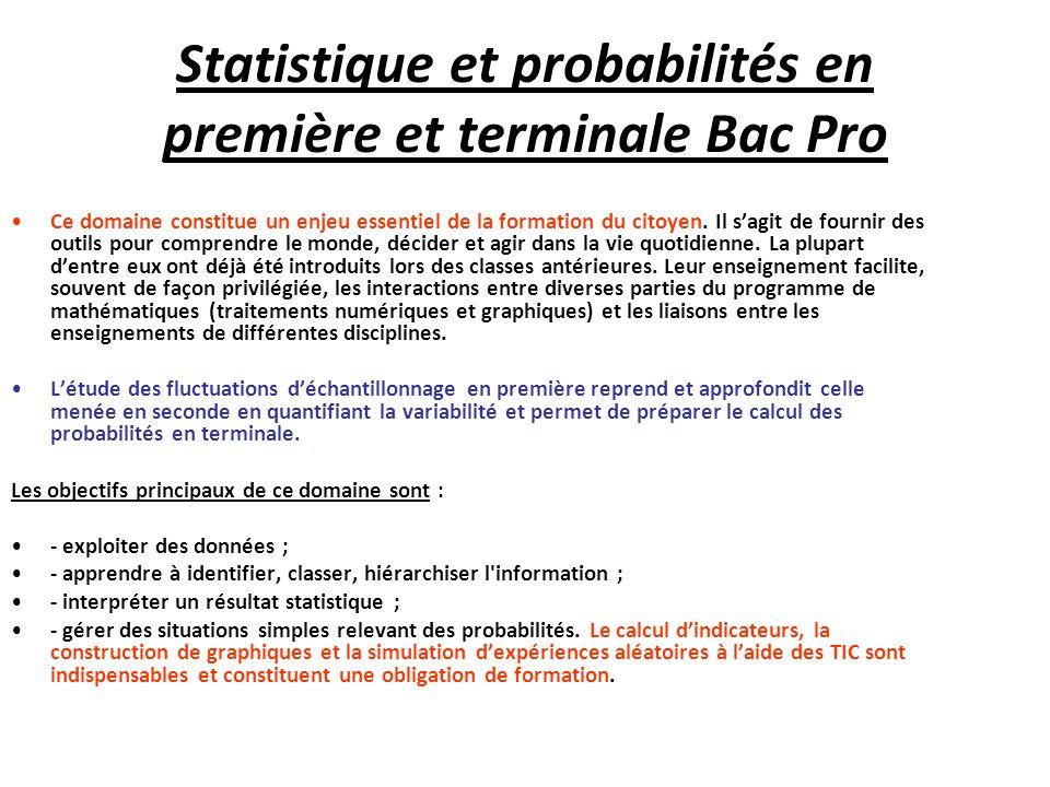 Statistique et probabilités en première et terminale Bac Pro