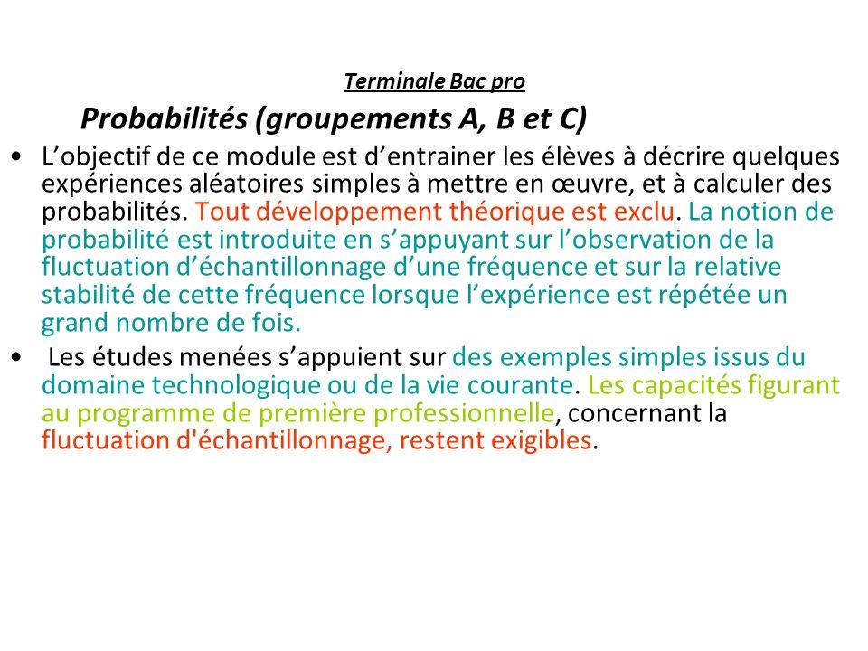 Probabilités (groupements A, B et C)