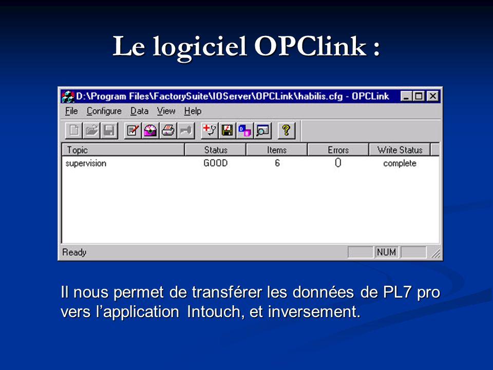 Le logiciel OPClink : Il nous permet de transférer les données de PL7 pro vers l'application Intouch, et inversement.