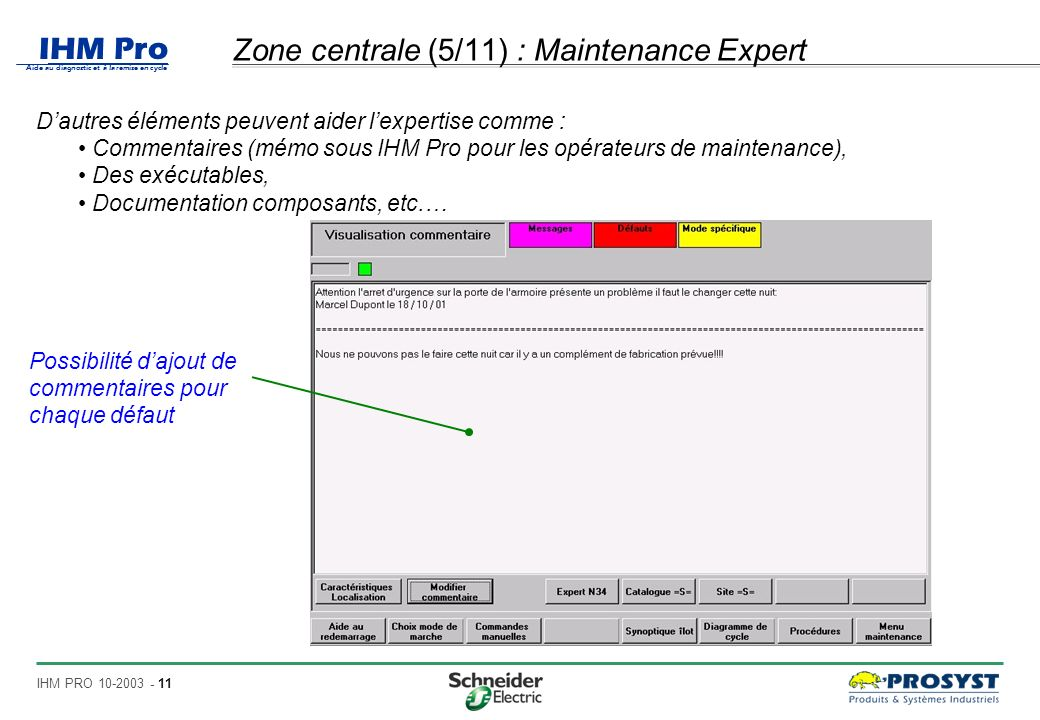 Zone centrale (5/11) : Maintenance Expert