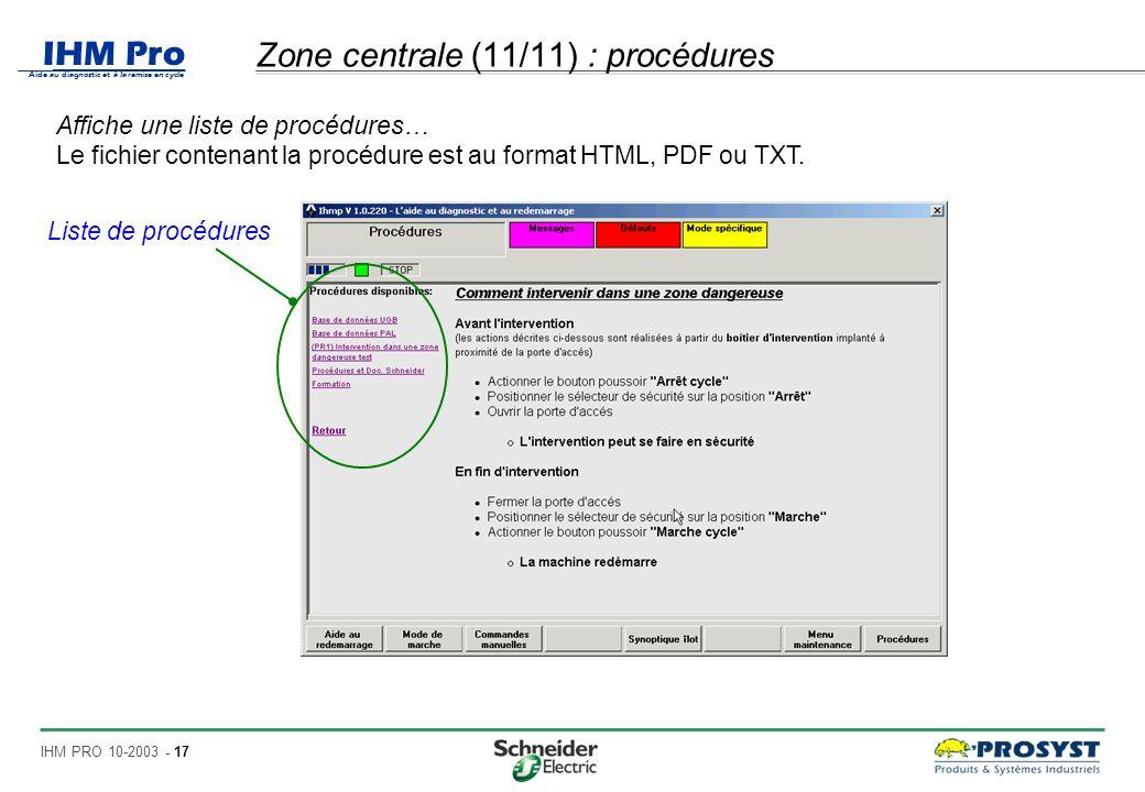 Zone centrale (11/11) : procédures
