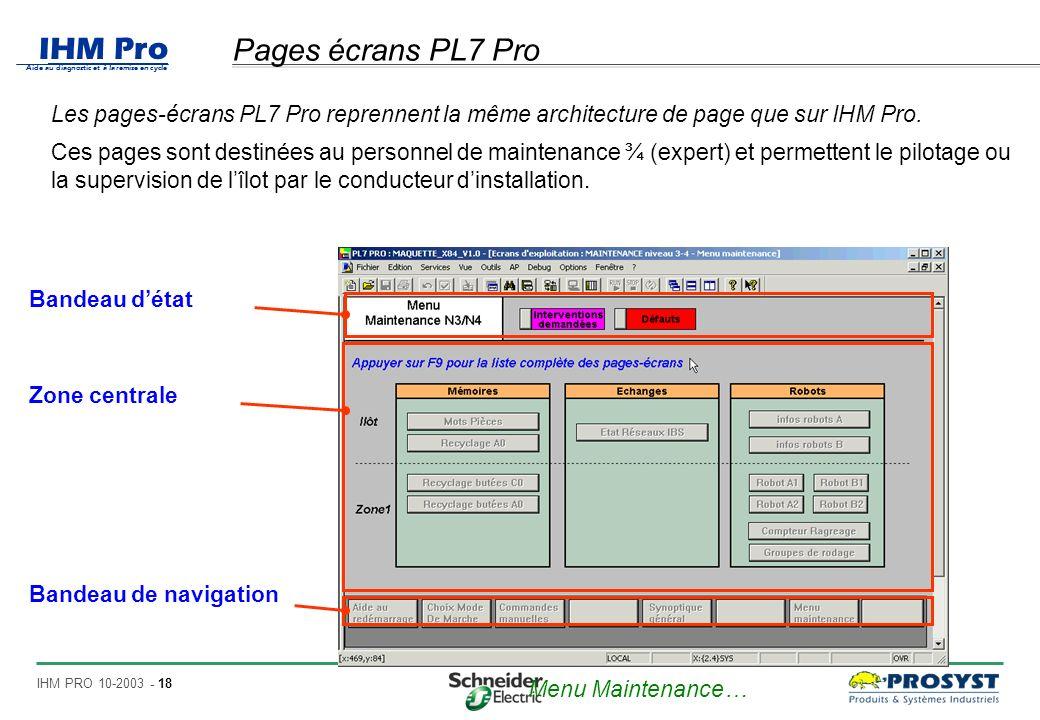Pages écrans PL7 Pro Les pages-écrans PL7 Pro reprennent la même architecture de page que sur IHM Pro.
