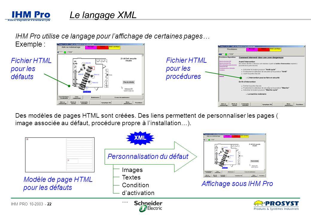 Le langage XML IHM Pro utilise ce langage pour l'affichage de certaines pages… Exemple : Fichier HTML pour les défauts.