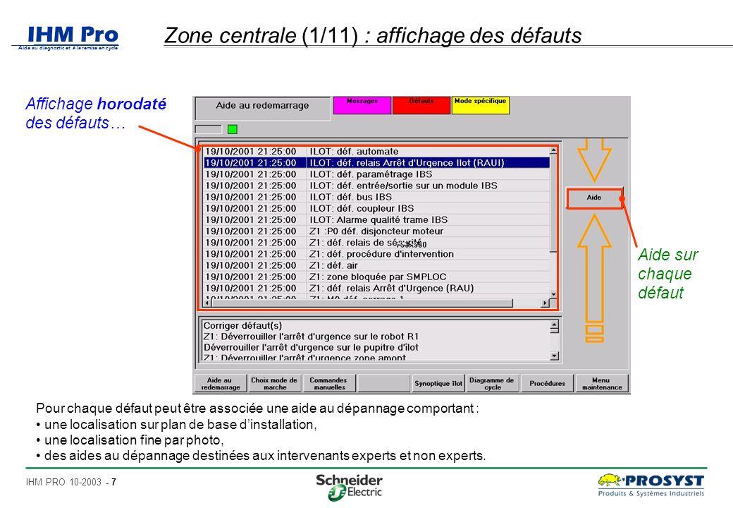 Zone centrale (1/11) : affichage des défauts