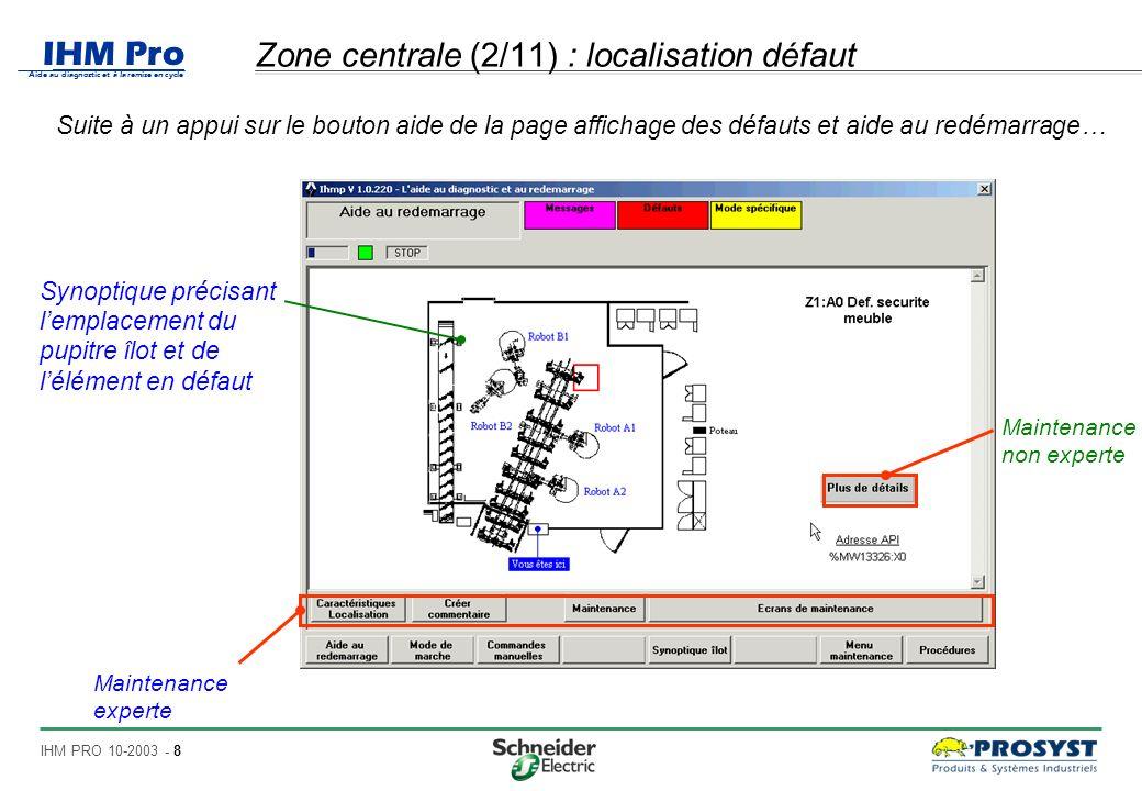 Zone centrale (2/11) : localisation défaut
