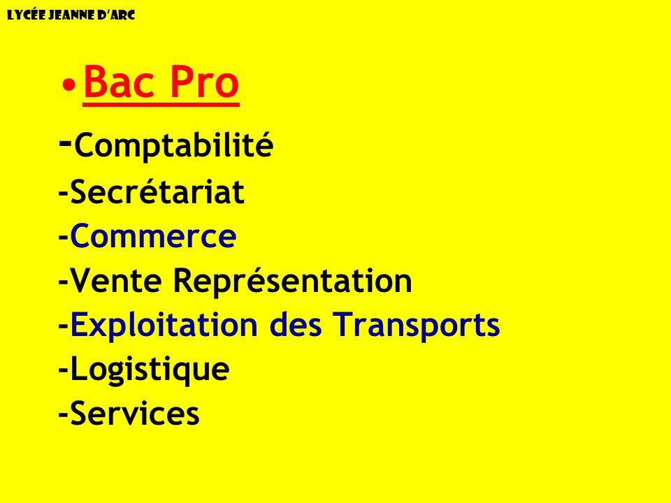Bac Pro -Comptabilité -Secrétariat -Commerce -Vente Représentation