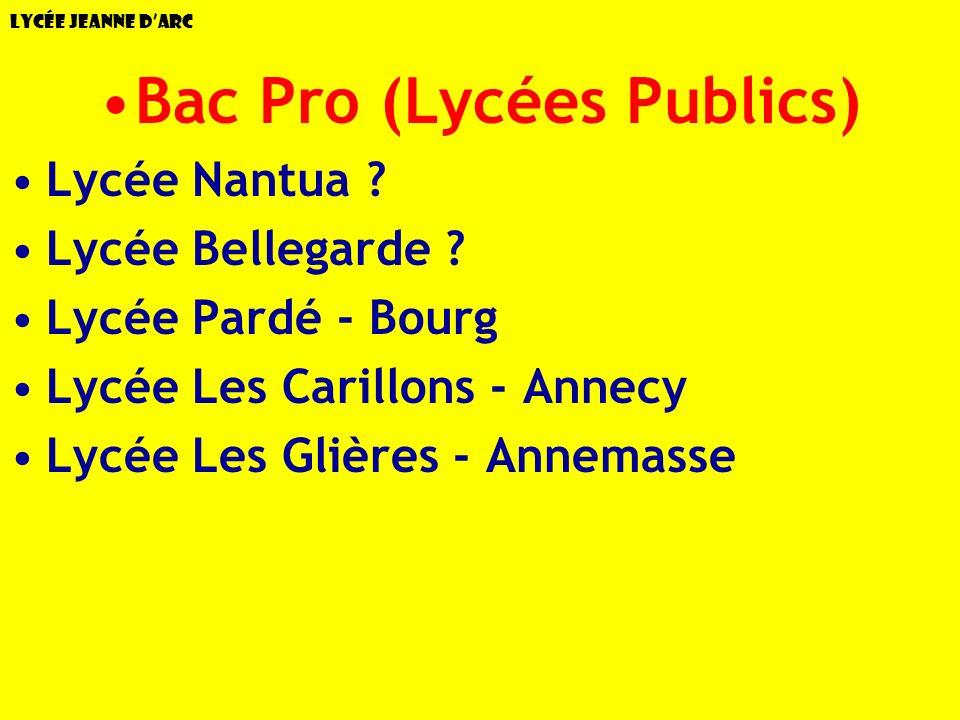 Bac Pro (Lycées Publics)