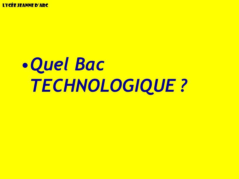 Quel Bac TECHNOLOGIQUE