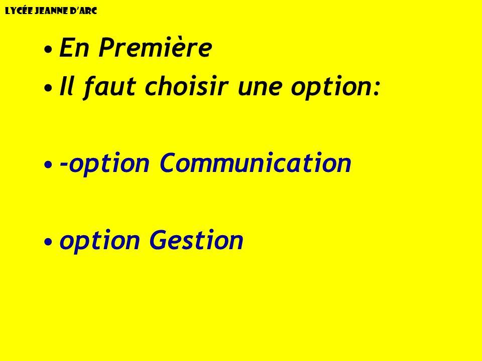 Il faut choisir une option: -option Communication option Gestion