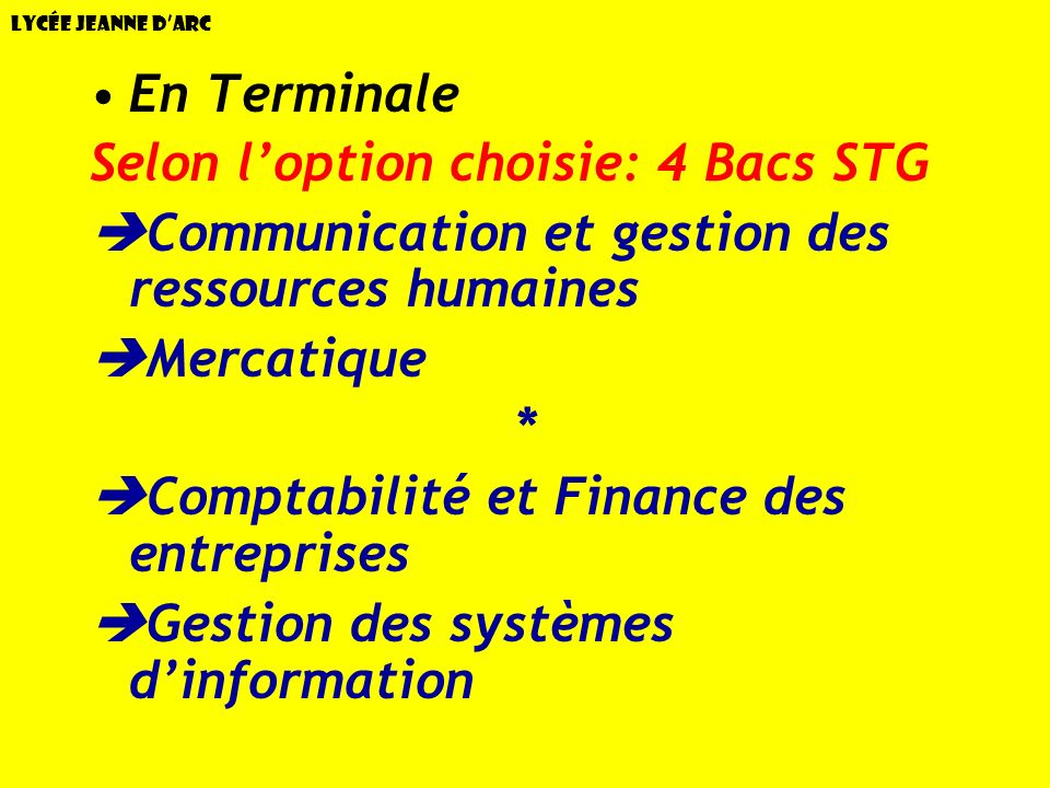 Selon l'option choisie: 4 Bacs STG