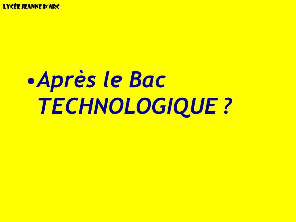 Après le Bac TECHNOLOGIQUE