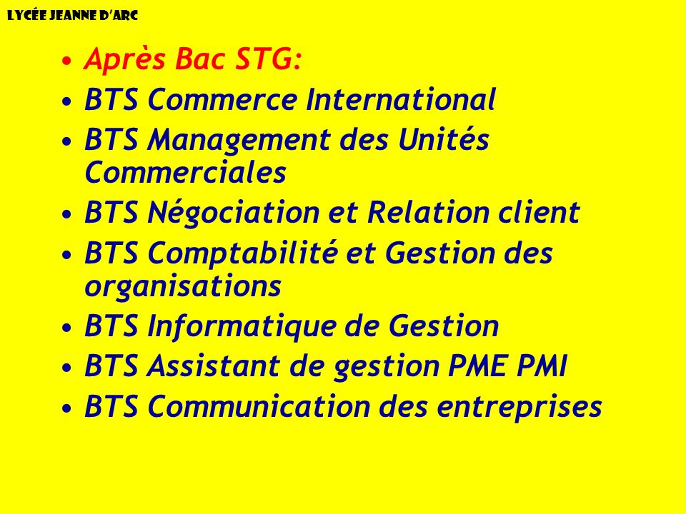 BTS Commerce International BTS Management des Unités Commerciales