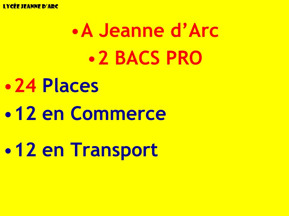 A Jeanne d'Arc 2 BACS PRO 24 Places 12 en Commerce 12 en Transport