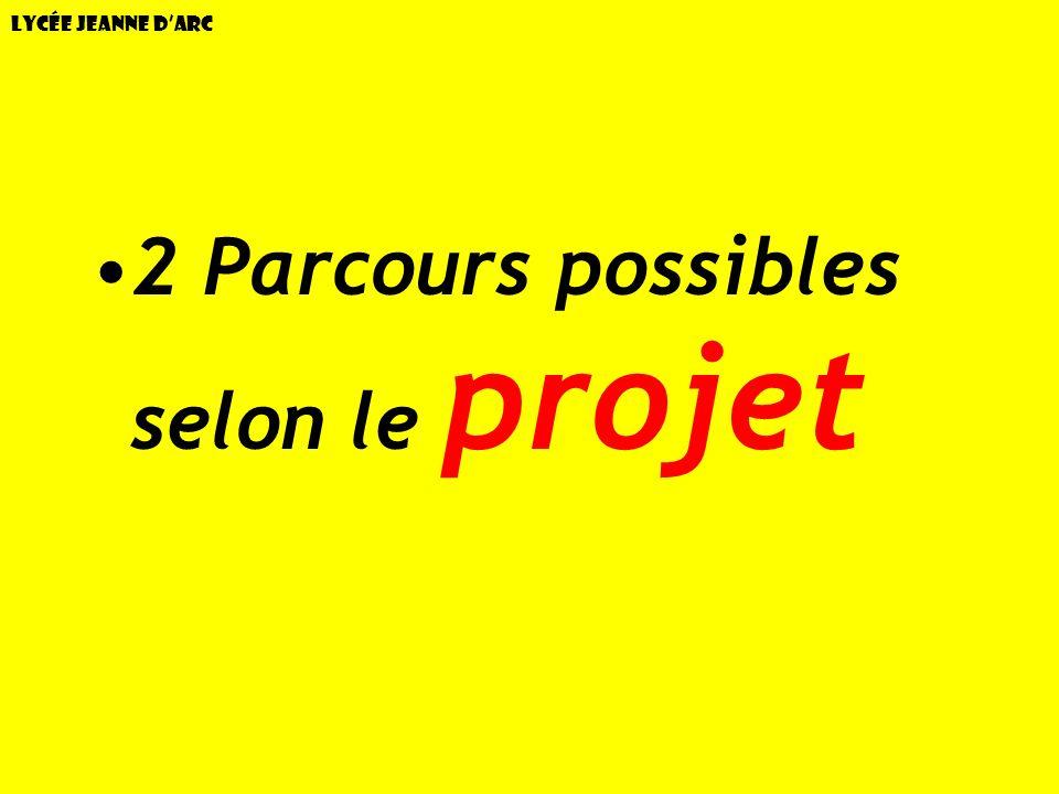 2 Parcours possibles selon le projet
