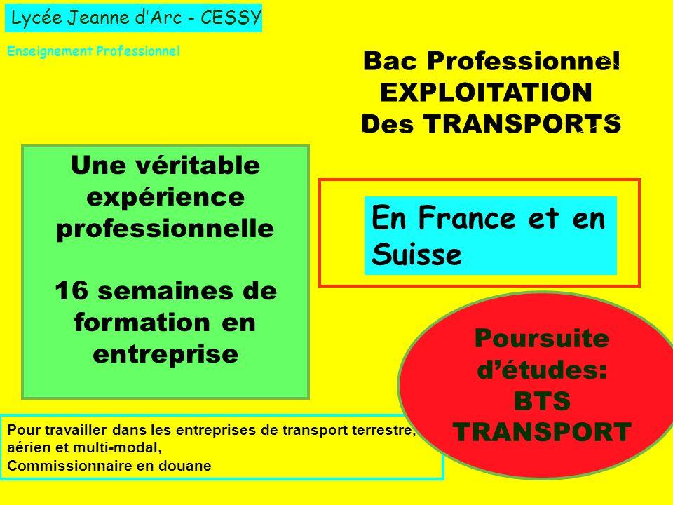 En France et en Suisse Bac Professionnel EXPLOITATION Des TRANSPORTS