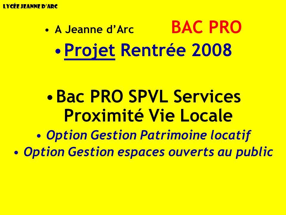 Projet Rentrée 2008 Bac PRO SPVL Services Proximité Vie Locale
