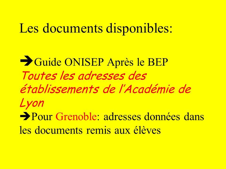 Les documents disponibles: Guide ONISEP Après le BEP Toutes les adresses des établissements de l'Académie de Lyon Pour Grenoble: adresses données dans les documents remis aux élèves
