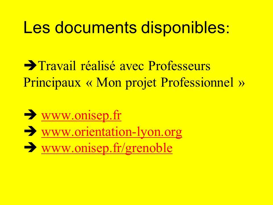 Les documents disponibles: Travail réalisé avec Professeurs Principaux « Mon projet Professionnel »  www.onisep.fr  www.orientation-lyon.org  www.onisep.fr/grenoble