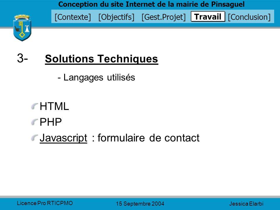 3- Solutions Techniques - Langages utilisés