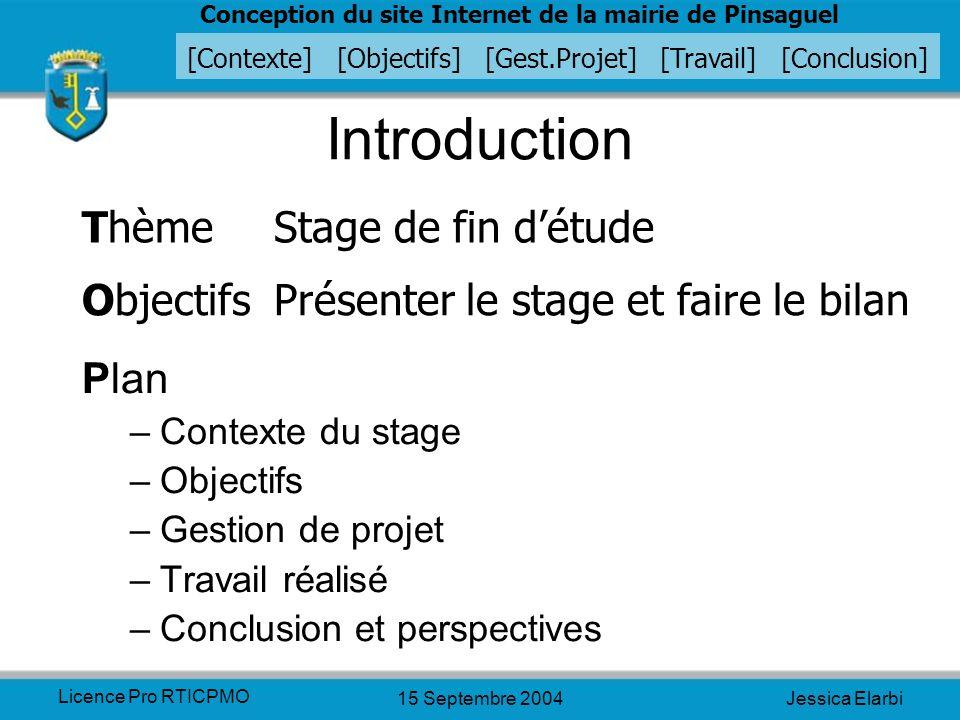Introduction Thème Stage de fin d'étude
