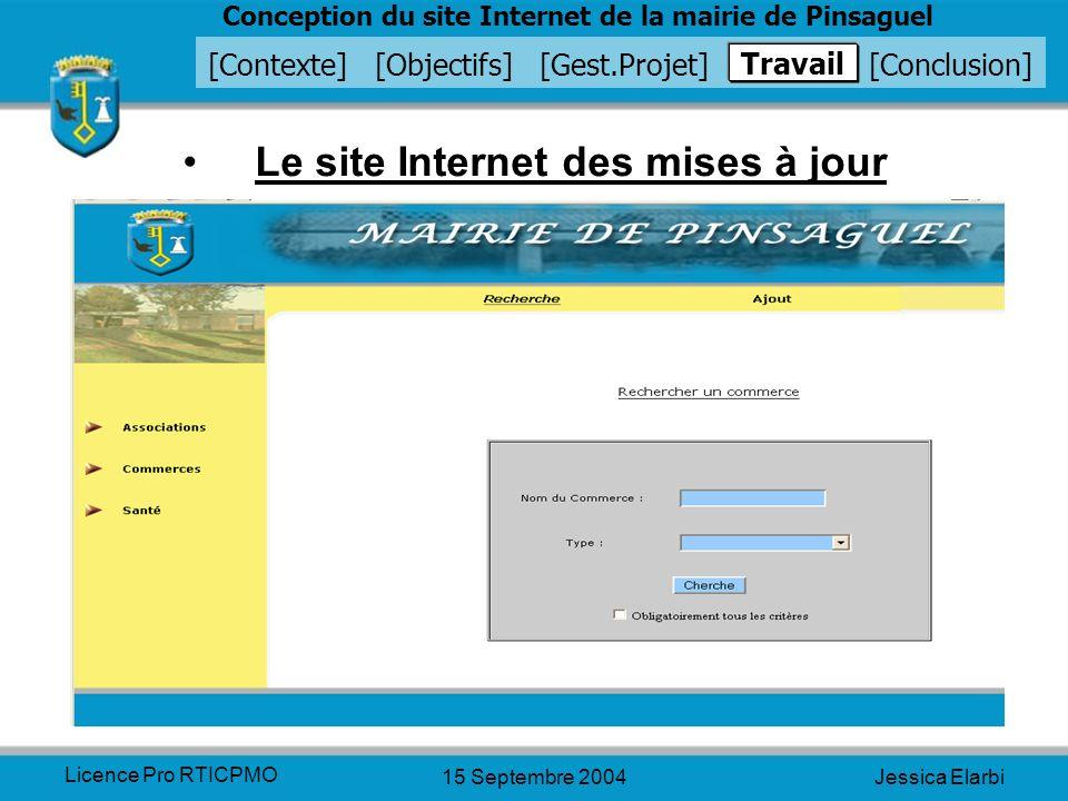 Le site Internet des mises à jour