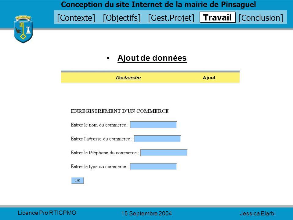 Travail Ajout de données Licence Pro RTICPMO 15 Septembre 2004