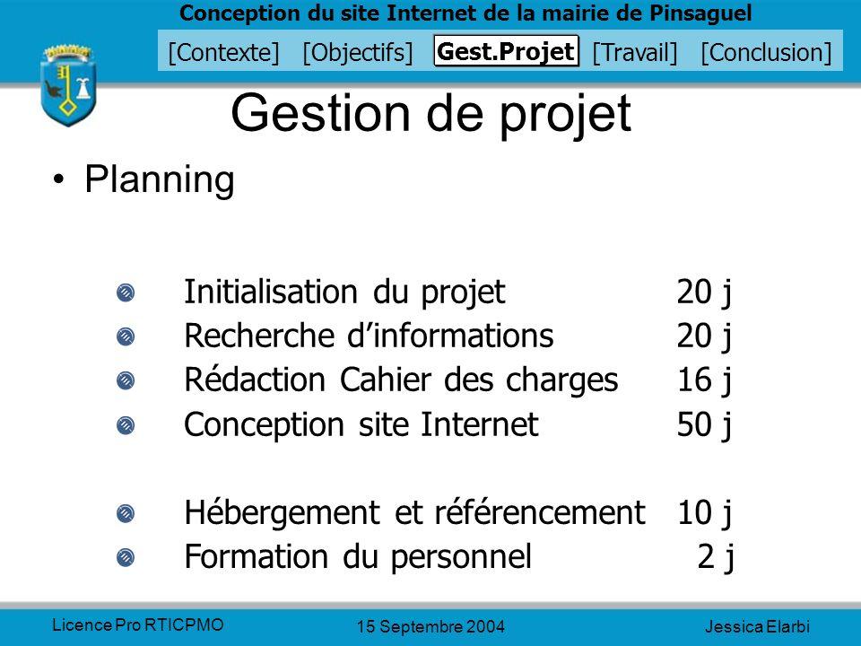 Gestion de projet Planning Initialisation du projet 20 j