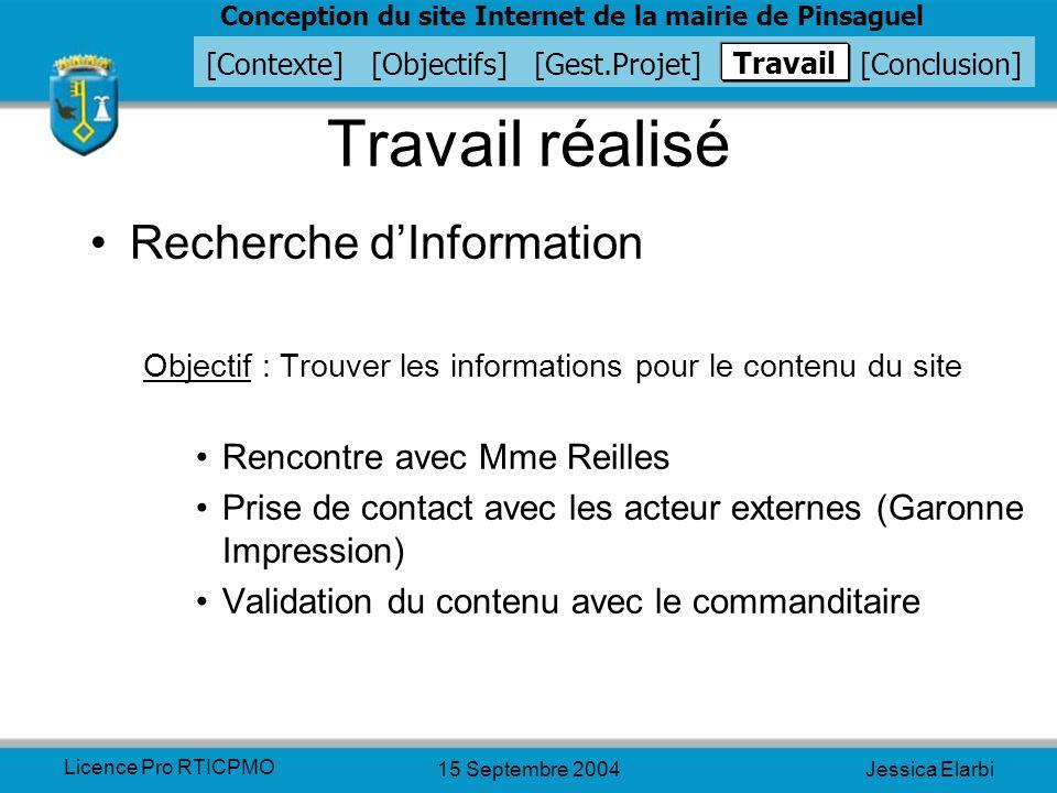 Travail réalisé Recherche d'Information Rencontre avec Mme Reilles