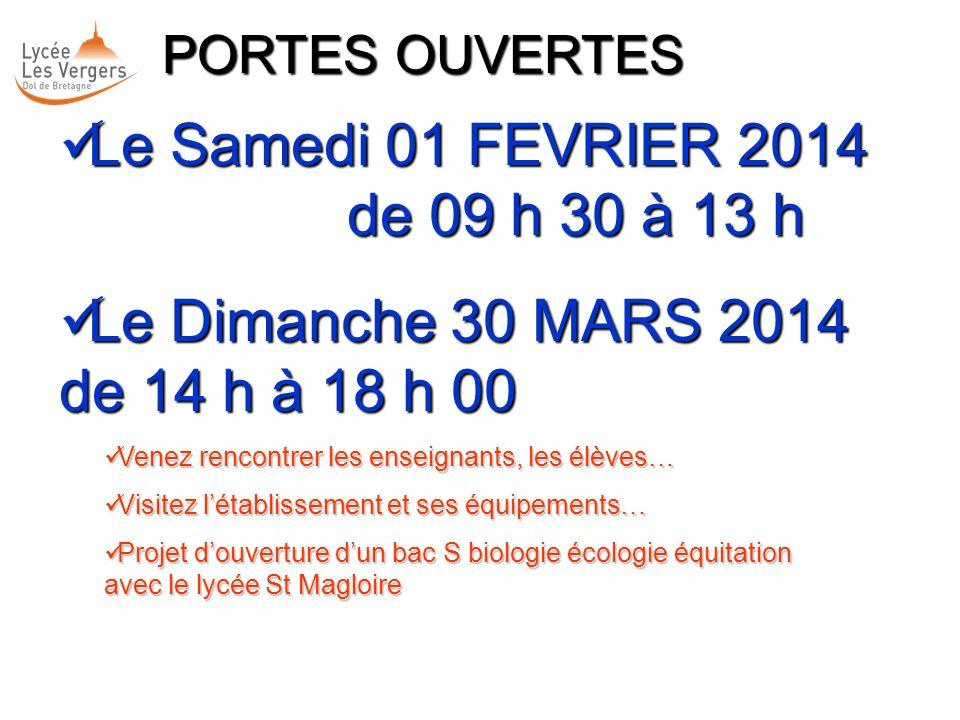 Le Samedi 01 FEVRIER 2014 de 09 h 30 à 13 h