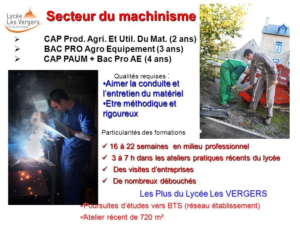 Secteur du machinisme BAC PRO Agro Equipement (3 ans)