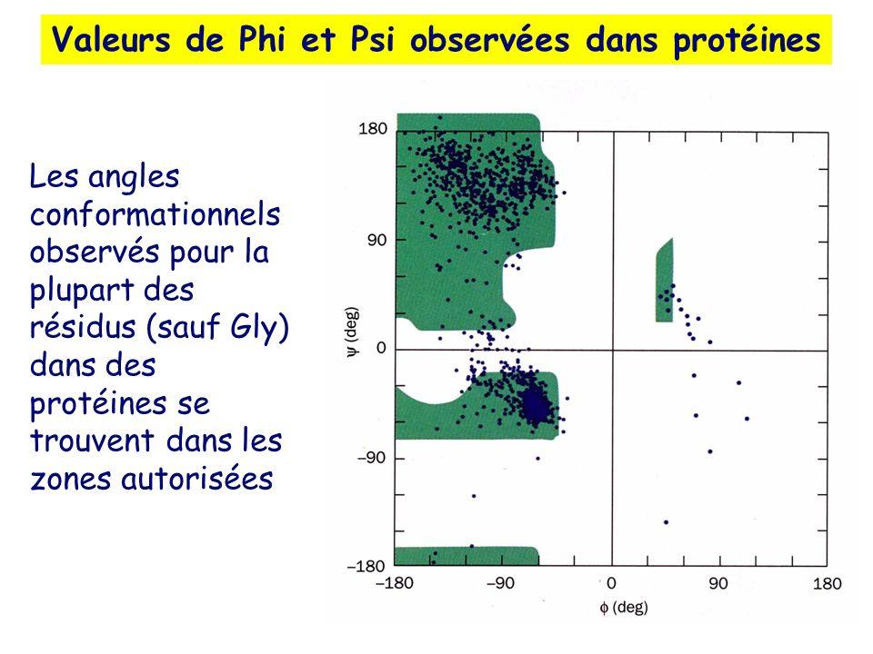 Valeurs de Phi et Psi observées dans protéines