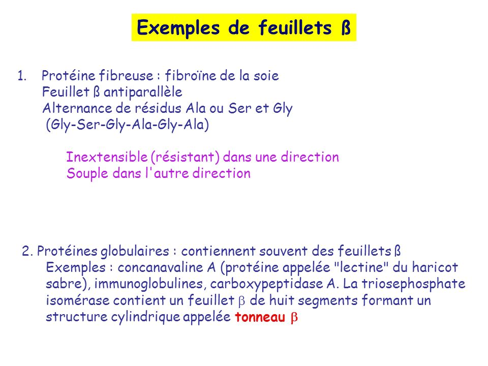 Exemples de feuillets ß