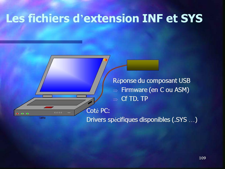 Les fichiers d'extension INF et SYS