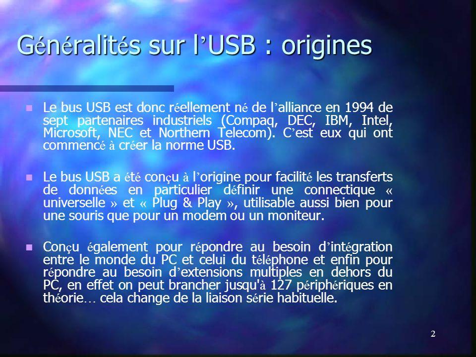Généralités sur l'USB : origines