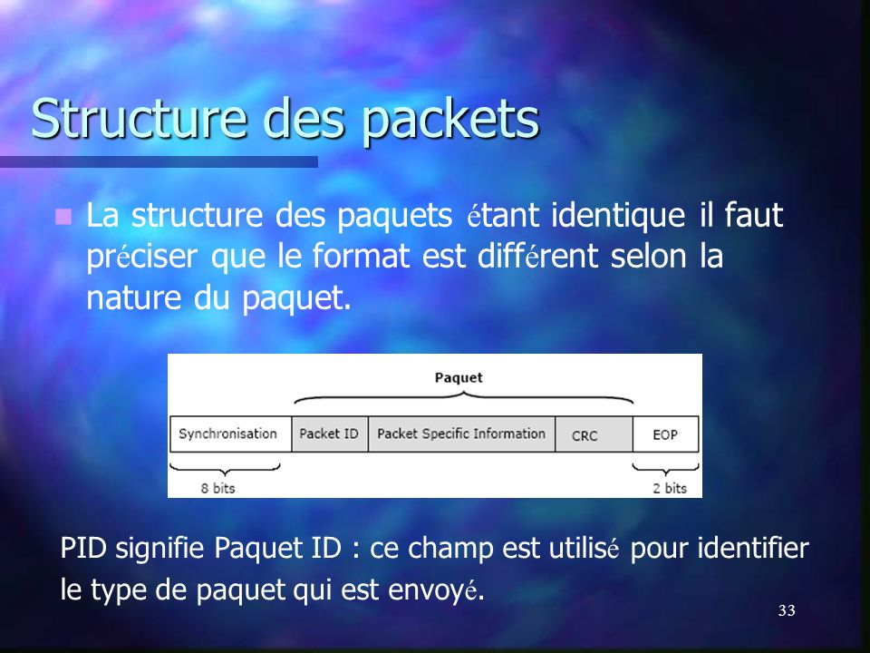 Structure des packets La structure des paquets étant identique il faut préciser que le format est différent selon la nature du paquet.