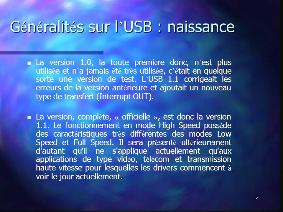 Généralités sur l'USB : naissance