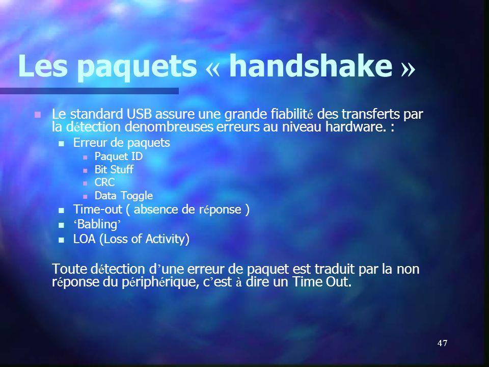 Les paquets « handshake »