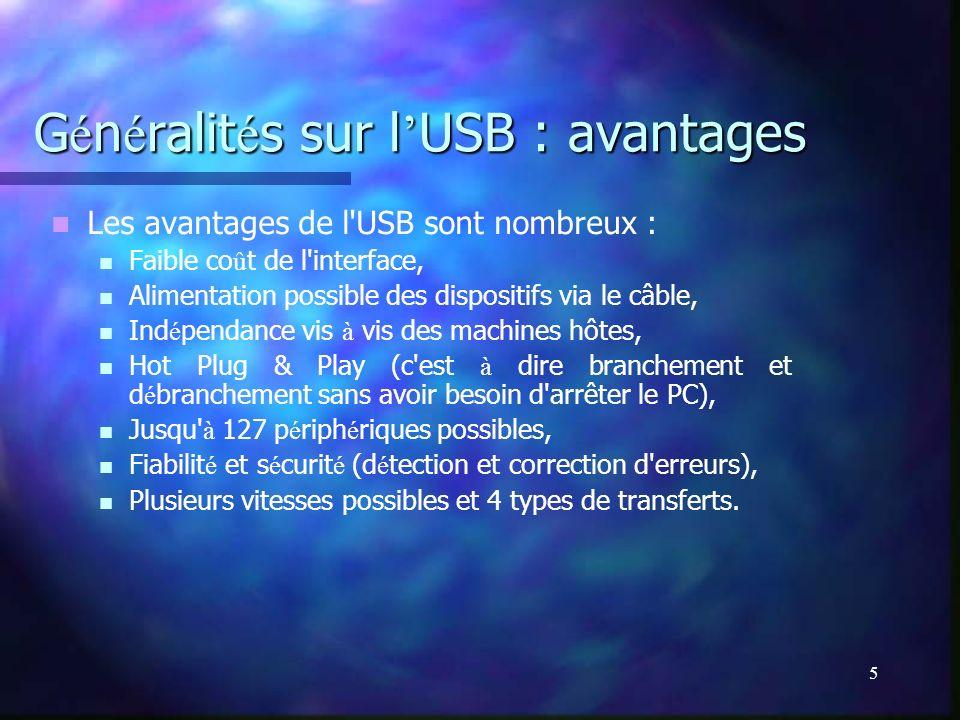 Généralités sur l'USB : avantages
