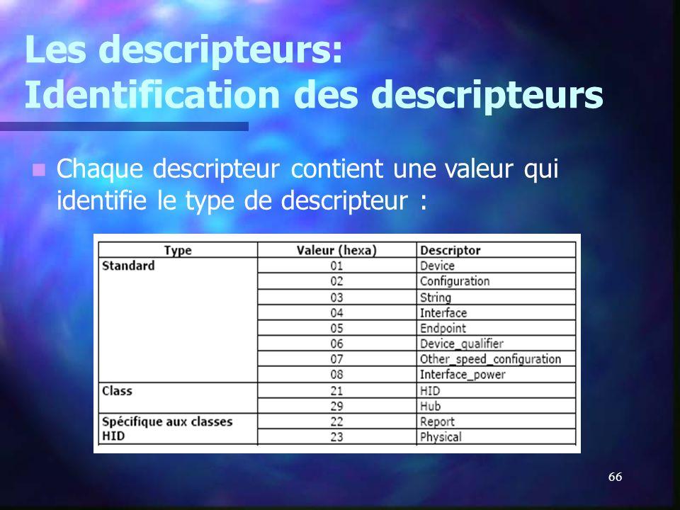 Les descripteurs: Identification des descripteurs
